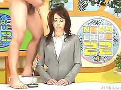 Newscaster in Japan gets a hot load on her face in Bukkake TV