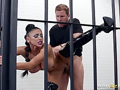 Standing fuck in a prison cell with a babe in latex boots