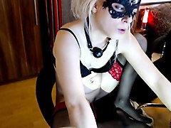 beautiful blonde cam girl uses her toys to masturbate