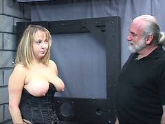 Old Man Dom Pulls Chubby Suband#039;s Hair And Smacks Her Big Tits