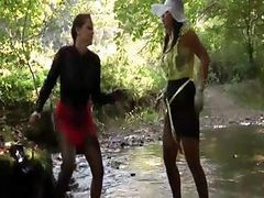 Sexy Lesbos Get Wet In The River
