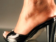 Darla Tv Dangling High Heel Mules Shoeplay Close Up
