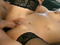 Collant N Piercings Girl On Black Couch