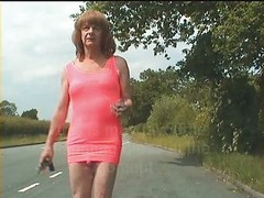 Tranny Hooker, Street Bitch Flaunts Pretty Cock Outdoors !