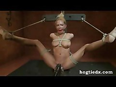 Hogtied Blonde Get Clips And Vibrator