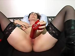 Milf Gets Off On Big Red Dildo