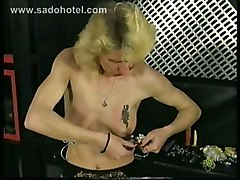 Germans Slave Get Pulled On Her Nipples And Spanked On Her Ass And Also Gets Metal Clamps On Her Tits