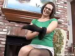 Hot Chick In Glasses Strips And Blows Cock