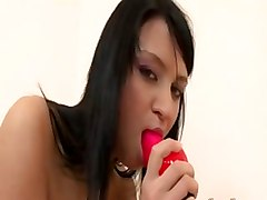 Tina With Her Red Dildo