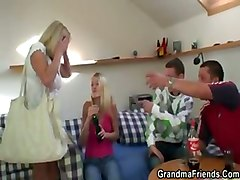Two Partying Guys Bang Blonde Granny