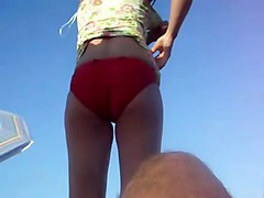 Women Changing On The Beach Upskirt