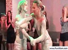 Two hot chicks are wrestling in the mud for the enjoyment of others