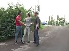 Skinny young teen in PUBLIC threesome PART 1