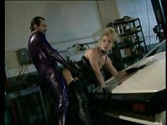 Blonde Babe In Latex Gives This Guy A Quick Fuck And Suck