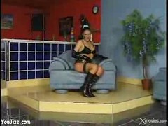 Spicy Latex Babe With Ponytail Rides A Big Fat Cock